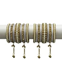 MUCH MORE Elegant Silver Gold Latakhan Bangles Set With Pearl Stone