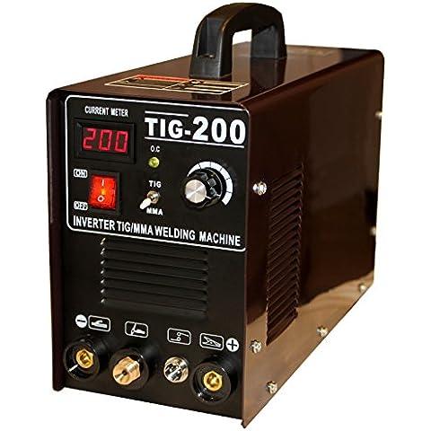 Dell Tig 200Inverter - Máquina de soldadura TIG/MMA, encendido HF, conversor TIG/Wig 200amperios IGBT, incluye casco de soldador