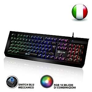 KLIM Domination - Tastiera Meccanica ITALIANA RGB - Nuova - 2017 - Switches Blue - Digitazione Rapida , Precisa, Confortevole - 5 Anni di Garanzia - Gaming Tastiera - COMPLETA PERSONALIZZAZIONE DEI COLORI --
