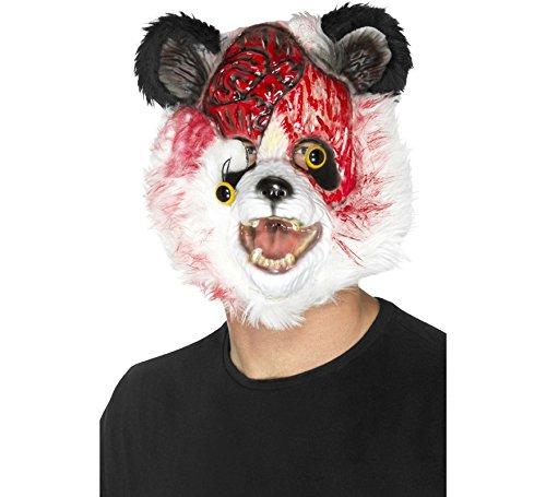 Smiffys Herren Zombie Panda Maske mit Fell, One Size, Schwarz und Weiß, 46991