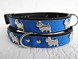 Lusy011 *Westie* Hunde Halsband, Leder, Halsumfang 30-36cm, Dunkel Blau, (PL.19.9.3.32)