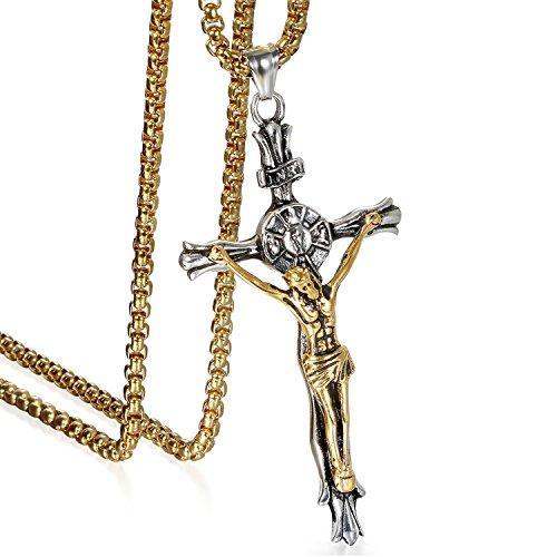 JewelryWe Schmuck Herren Anhänger Halskette Edelstahl großer katholischer Jesus Christus INRI Kruzifix Kreuz Anhänger mit 55cm Venezianer Kette Gold Silber