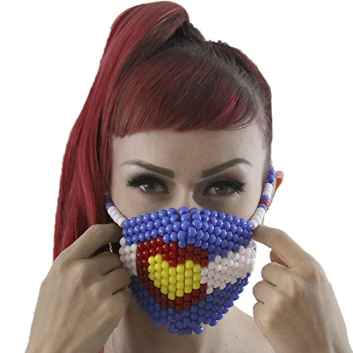 Colorado Love Kandi Mask Surgical by Kandi Gear, rave mask, halloween mask, beaded mask, bead mask for music fesivals and parties