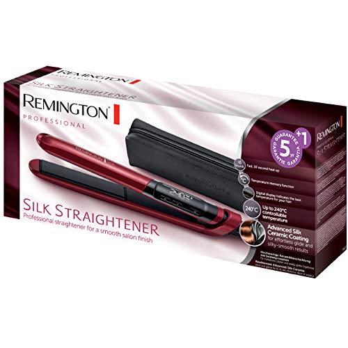 51GnwzDmk2L - Remington Silk S9600 - Plancha de Pelo, Cerámica, Digital, Placas Flotantes Extralargas, Rojo, Resultados Profesionales, Rojo