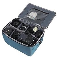Waterproof Shockproof Partition Padded Camera Bags SLR DSLR Insert Protection Case With Top Handle and Adjustable shoulder strap For DSLR Shot lens Or Flash Light (Blue)