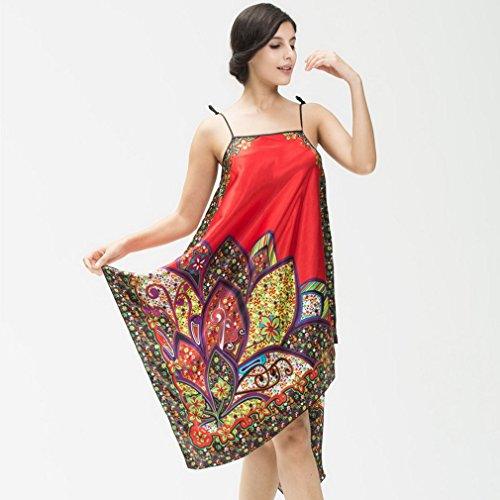 Y-BOA 1Pc Robe De Chambre En Soie Taille Unique Mince Rouge