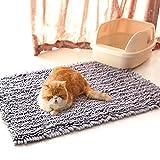 Anjing - Esterilla de Arena para Gatos, Suave, diseño 3D, Ultra Absorbente, Impermeable, Color Gris