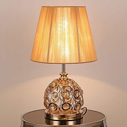 Lampe de table rétro vintage en cristal 20.5'abat-jour en tissu traditionnel moderne pour chambre à coucher salon famille café table de chevet lampe de bureau LCNINGTD (Couleur : Or)