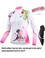"Shinmax Jersey de Ciclismo para Mujer y Pantalones de Compresión Acolchados 3D Conjunto Trajes,Girls Mountain Road Bicicleta de Montar Ciclismo Bicicleta de Manga Larga Jerseys, Venda de Sudor Libre (Flor de Hadas, L (pecho 35.43 ""manga 27.95"" cintura 28 ""))"