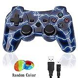 PS3Controller Wireless Dualshock3Joystick-oubang Upgrade Version Patent Fernbedienung Best Bluetooth-Achsen-Control Gamepad Schwere Spiel Zubehör für PlayStation3 Blau Lightning Blue M
