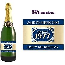 1977Vintage azul Happy 40th cumpleaños 2017etiqueta de botella de champán regalo