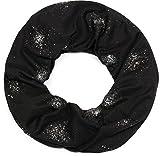 styleBREAKER Loop Schal mit Glitzer und Pailletten Punkte, Schlauchschal, Tuch, Damen 01017075, Farbe:Schwarz
