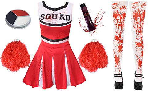 ILOVEFANCYDRESS Zombie Cheerleader KOSTÜM VERKLEIDUNG= 5 Farben+6 GRÖßEN=MIT+OHNE BLUTIGE Strumpfhose=HAT DIE Aufschrift -Squad + Make UP+Pompoms+KUNSTBLUT=MIT Strumpfhose/ROTES (Paare Kostüm Mädchen)