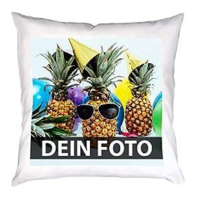 Personalisiertes Kissen mit individuellem Bild und Text selbst gestalten (40 x 40 cm, eckig, bedruckbar, persönliches Fotogeschenk zum Geburtstag oder Jahrestag), weiß (mit Füllung)