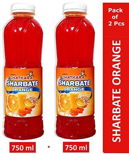 GSA's Chatkara® Orange (750ml+750ml) Syrup Squash Sharbat for Drink/Milkshake/Falooda/Ice-Cream/Lassi/Liquids/Juice/Soda/Cocktails/Milk Powder. Pack of 2 Bottles.