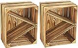 Kistenbaron Holzkiste im Vintage Look - Obstkiste Weinkiste Dekoration - Geflammt - 50 x 40 x 30 2er Set Ablage schräg