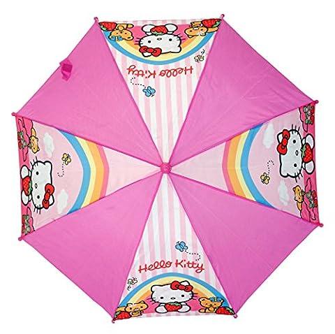 Mädchen Regenschirm HELLO KITTY - Motiv Erdbeere, Regenbogen - Schirm in pink - Lizenz artikel