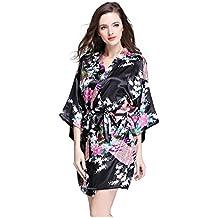 23b2b391c0 Antaina Lencería Pijama Albornoces Kimono Vestido Corto de Satén de  Estampado Pavo Real y Flores para