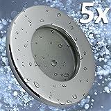 5x Badeinbaustrahler | Einbaustrahler Feuchtraum | Badezimmer | Bad | Dusche | Suana | inkl. GU10 Fassung | Rostfrei | Einbauspot | Deckeneinbaustrahler | rund | chrom