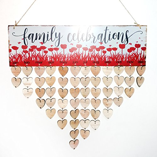 slylive Colorful DIY Holz Aufhängen Kalender, Family Celebration bedruckt für Home Wand Decor (Kleine 2015 Kalender Planer)