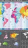 OFA Prints dettagliata Mappa del Mondo (Grafico) con fusi orari-Maxi Poster da Parete-58cm x 56cm