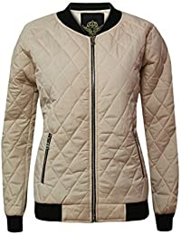 CANDY FLOSS NEW WOMEN BOMBER QUILTED PADDED PUFFER LADIES ZIP PUFFA COAT JACKET RIBBED TOP