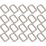 BQLZR Silver Rectangle Metal Dee Ring D Webbing Belt Ribbon Buckle 25mm Strap Adjuster Pack of 20