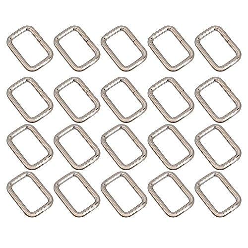 Liebeck Silber Rechteck Metall Dee Ring D Gurtband Gürtelschnalle 25mm Gurt Teller Pack von 20 Stück