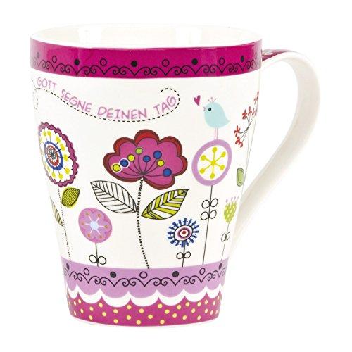 Christliche Geschenkideen °* Pinke Tasse Blüten Gott segne deinen Tag - Lieblingstasse