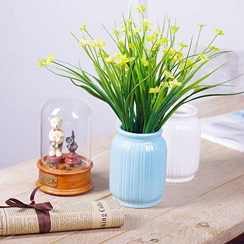 ZHUDJ Pflanzen Grün-Shik Kit Ornamente Home Kleine Topfpflanzen Dekoration Blumen aus Kunststoff Künstliche Blumen, Gelb Lauch Blumenvasen Optimierte + Blau (Grünem Kunststoff Pflanzen Ornament)