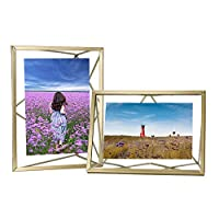 GoMaihe Glass Photo Frames 6 x 4 Set of 2, Metal Bracket Picture Frame for Standard Photograph Size, Freestanding Family Wedding Memories Photo Frame for Home Bedroom Living Room Decoration, Gold 2