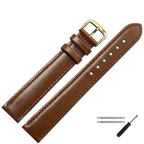 MARBURGER Uhrenarmband 14mm Leder Braun - Uhrband Set 6601432000220 (Leder-band Der Schweizer Armee Uhren)