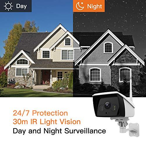 Caméra IP Extérieur sans Fil 1080P HD, Caméra Surveillance WiFi avec Étanche IP66, Caméra de Sécurité avec Vision Nocturne, Bi-Audio, Détection de Mouvement-iOS/Android/Tablettes/PC Windows/Alexa
