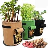 JanTeel Sac de Culture de Pommes de Terre, Croissance Sac, Sac de Plantation Jardin - 3 pcs 7 Gallons Sac de Legumes, Tissu Non-tissé Sac à Fenêtre Velcro (7 Gallon, Vert+Marron+Noir)