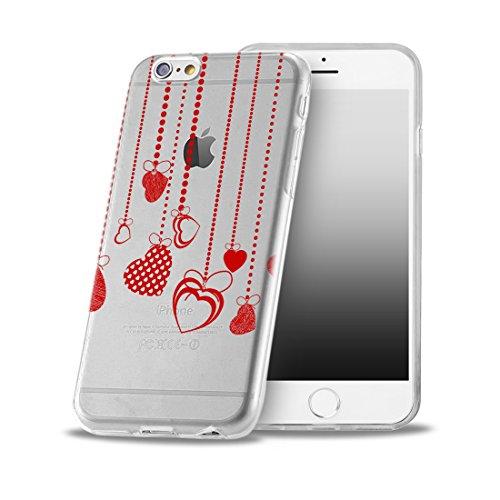 OOH!COLOR Handyhülle für IPHONE 5 und 5S, SE mit Holz MTE014 Motiv Silikon Case Flexibele Tasche Design Schutzhülle Elastisch Etui Cover OVA042 Herz