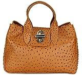 Belli Echt Leder Handtasche Damen Ledertasche Umhängetasche Henkeltasche in Glattleder, Kroko oder Strauss (Strauß) Prägung - 36x25x18 cm (B x H x T), Cognac Matt Strauß,