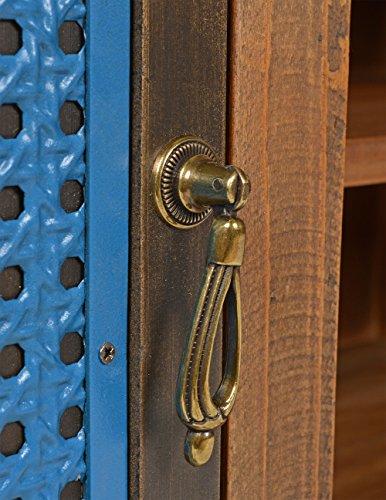 ts-ideen TV-Bank Lowboard HiFi-Schrank Vintage Antik Shabby Design Used Style Massivholz braun zwei Türen mit buntem Muster - 3
