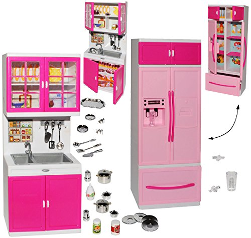 Preisvergleich Produktbild XL Set: Kühlschrank mit Eiswürfelspender & Spühle - mit Zubehör - Geschirr & Töpfe - für Puppenhaus - Miniatur für Puppenstube - passend für alle gängigen Modepuppen - Plastik / Kunststoff rosa - Puppenhausmöbel - Küche - Möbel - Miniatur Diorama - Küchenmöbel - Gefrier-Kombination - Puppenküche / Puppenzubehör - Modepuppe