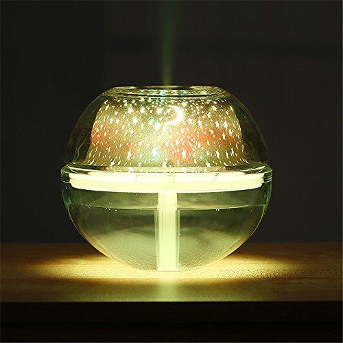 Noodei LED Kristall Nachtlicht 200 ml Projektions Luftbefeuchter Mini Ultraschall Luftbefeuchter USB Ätherisches Öl Aroma Diffusor Lufterfrischer 2 Watt (Farbe : Gold) -