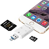 [New Releases]Flash Drive Smart Card Reader High Speed Lightning Mirco SD Card/USB/SDHC/TF/OTG 5-in-2 USB Flash Drive For iPhone iPad PC and Android by Okapia(white)