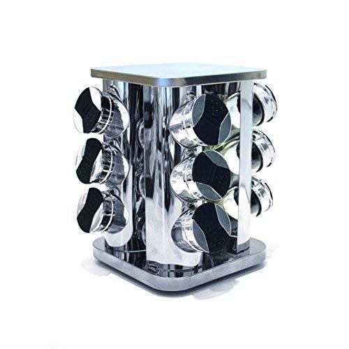 Saveur et Degustation KB5756 Carrousel à Epice Forme de Tour Carré 9 Pots avec Couvercle Plastique/Verre Transparent 20 x 20 x 23 cm