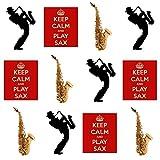 Keep Calm and Play Saxophone Saxophone, Saxophone et lecteur Silhouette?comestibles pour cupcakes col montant (Lot de 12)