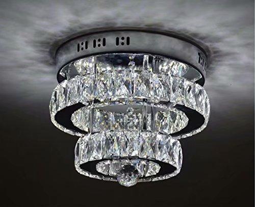 Durchmesser Flush Mount Decke Leuchte (LOCO Crystal Flush Mount Halterung Luxus Moderne LED Deckenleuchte K9 Kristall Edelstahl Kronleuchter Dekor Perfekt für Flur/Treppe/Schlafzimmer/Esszimmer (Durchmesser: 12 Zoll) Weißes Licht)