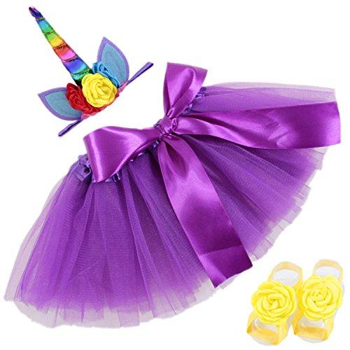 COUXILY Falda del Tutú para Niñas Pequeñas Fotos de Disfraces de Ballet con Unicornio Flor Diadema para Little Pony Dress Up Diversión (Púrpura)