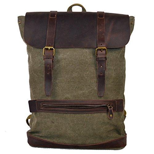 Y-DOUBLE Vintage Canvas Leather Messenger Traveling Shoulder Laptop Backpack (green) (Retro Shoulder Bag Messenger)