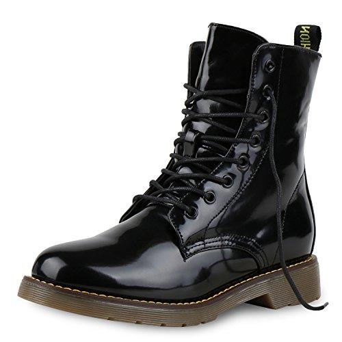 napoli-fashion Damen Schuhe Worker Boots Lack Stiefeletten Grunge Profil  Sohle Punk Schwarz Lack Black ab91f5f4d5
