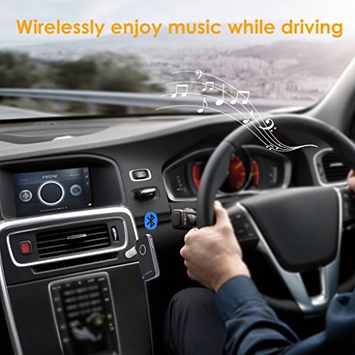 Avantree Portabler Bluetooth 4.1 Car Kit, Mini Wireless Audio Musik Receiver Adapter mit 3.5mm Aux für Lautsprecher Kopfhörer, Hands Free Anrufe mit Mikrofon
