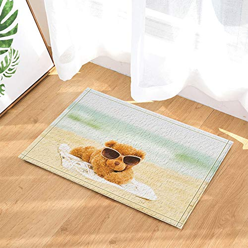 Grüner, seegelber Strand mit weißer Matte und gelber, niedlicher, schwarzer Sonnenbrille. wasserdichte, rutschfeste Fußmatten ohne Chemikalien