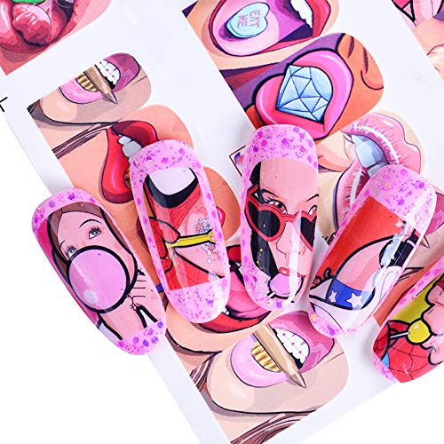 uk availability b1be9 c740f 12 Designs Pop Art Decal DIY Water Transfer Nail Art Sticker Full Wraps  Colorful Tips Sexy