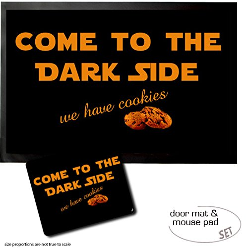 Felpudos Star Wars Set: 1 Felpudo Alfombrilla (60x40 cm) + 1 Alfombrilla Para Ratón (23x19 cm) - Humor, Come To The Dark Side, We Have Cookies